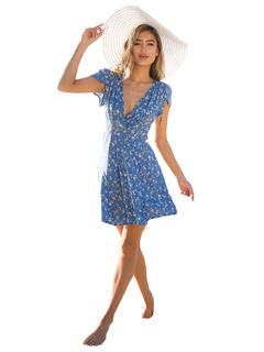 Women's Summer Dress Light Sky Blue V Neck Short Sleeve Chiffon Floral Print Skater Dresses