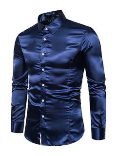 bf66e9754b1ef Dark Navy Shirt Long Sleeve Turndown Collar Casual Shirts For Men
