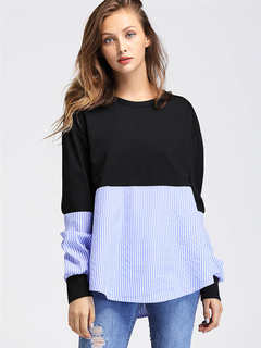 Black Women's Sweatshirt Round Neck Long Sleeve Patchwork Striped Top