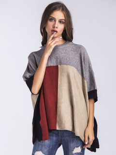 Women's Poncho Sweater Color Block Half Sleeve Oversized Pullover Sweater