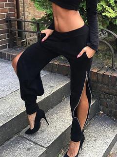 Black Long Pants Zipper Elastic Waist Split Women's Pants