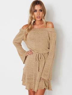 2576b5f95c78 Magnifique robe pull mode unicolore avec ceinture moulante hors de l épaule  street style