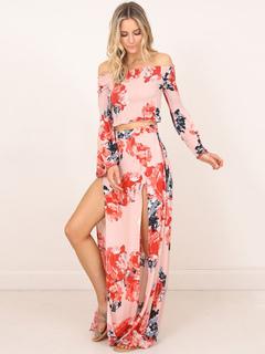 Pink Skirts Set Off The Shoulder Long Sleeve Floral Print Top With Split Long Skirt For Women
