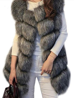 Faux Fur Vest Women'S Sleeveless Grey Faux Fur Coat