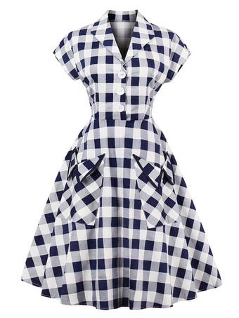 White Vintage Dresses V Neck Short Sleeve Checkered A Line Midi Dress For Women