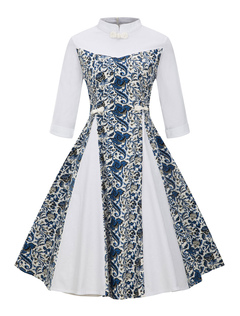 White Vintage Dresses Stand Collar Long Sleeve Chinese Style Floral Print A Line Midi Dress For Women
