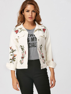 White Denim Jacket Long Sleeve Turndown Collar Embroidered Short Jackets For Women