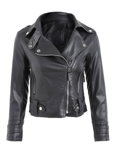 Black Leather Jacket Long Sleeve Turndown Collar PU Moto Jackets For Women