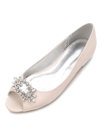 494ffda792a Mother Of Bride Shoes Peep Toe Rhinestones Wedding Guest Flat Shoes