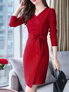 Red Women Dress Casual Spring Long Sleeve Midi Wrap Dress