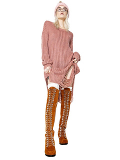 Pink Knitted Dress Oversized Punl Style Round Neck Cut Out Slit Women's Shift Dress