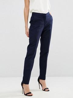 Long Women's Trousers Straight Leg Deep Blue Casual Dress Pants