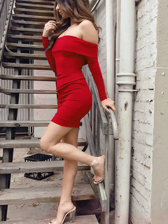 Red Club Dresses Off The Shoulder Long Sleeve Backless Sexy Bodycon Dress For Women