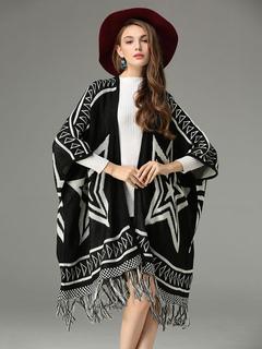 Black Women's Poncho Fringe Long Sleeve Stars Print Cape Coat