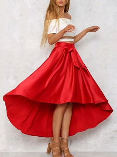 Red Long Skirt High Low Pleated Skirts For Women