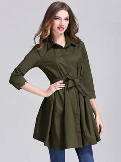 Women's Shirt Dress Hunter Green Spread Collar Long Sleeve Women's Trench Coat Dresses
