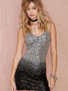 Silver Club Dress V Neck Straps Sleeveless Sequins Two Tone Backless Women's Mini Dresses
