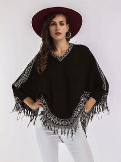 Black Poncho Sweater V Neck Long Sleeve Fringe Short Comfy Cape Coat For Women