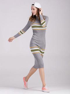 Grey Knitted Dress High Collar Long Sleeve Striped Shaping Women's Midi Sweater Dress