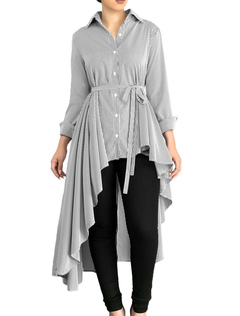 Grey Women's Blouses Long Sleeve Turndown Collar Striped High Low Shirt
