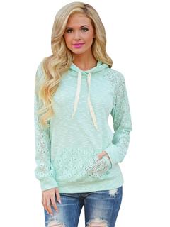 Mint Green Hoodie Hooded Long Sleeve Lace Women's Sweatshirt