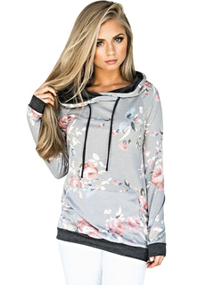 Grey Pullover Hoodie Women's Hooded Long Sleeve Floral Print Sweatshirt