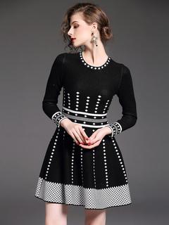 Black Sweater Dresses Long Sleeve Round Neck Two Tone Women's Skater Dress