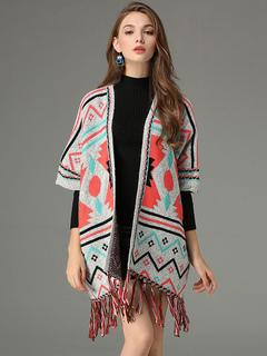 Light Grey Poncho Fringe Half Sleeve Geometric Jacquard Rabbit Fur Cape Coat For Women