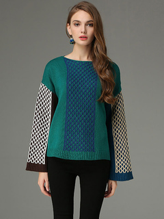 Green Pullover Sweater Bateau Neck Long Sleeve Color Block Quilted Comfy Knit Top For Women