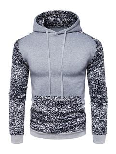 Men's Pullover Hoodie Long Sleeve Hooded Leopard Print Patchwork Regular Fit Sweatshirt