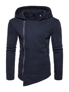 Deep Grey Hoodie Hooded Long Sleeve Asymmetrical Men's Sweatshirt