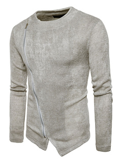 Men's Pullover Sweater Light Grey Round Neck Long Sleeve Zipper Detail Casual Sweater
