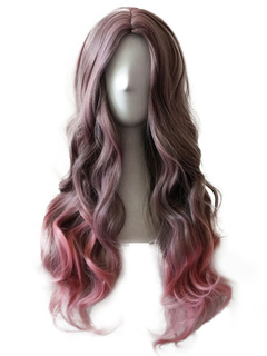 Carnival Hair Wigs Women's Long Centre Parting Body Wave Curls Tousled Fuchsia Women's Wigs