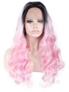 Pink Carnival Wig Lace Front Central Parting Full Volume Curls Tousled Long Holiday Wig