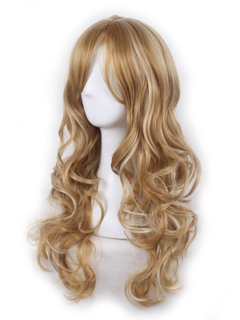 Women's Blonde Wigs Highlighting Body Wave Tousled Long Wigs With Fringes