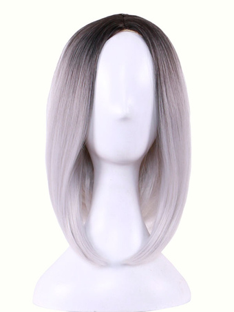 Carnival Hair Wigs Highlighting Central Parting Bob Style Straight Synthetic Wigs