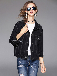 Black Denim Jacket Embroidered Turndown Collar Long Sleeve Buttons Women's Stylish Fall Clothing