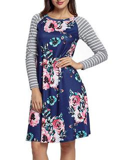 T Shirt Dresses Long Sleeve Round Neck Striped Printed Women's Short Dress