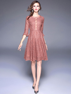 Women's Lace Dress Round Neck Bell Sleeve Shaping Brick Red Skater Dresses