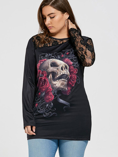 Black Lace T Shirt Plus Size Halloween Sugar Skull Print Long Sleeve Women's Tee Top