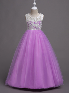 Flower Girl Dresses Lilac Lace Applique Tulle Princess Pageant Dresses Round Neck Sleeveless Party Dresses