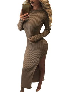 Brown Sweater Dresses Round Neck Long Sleeve Metal Details Split Shaping Maxi Dress For Women