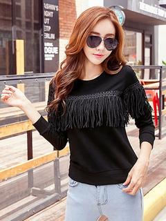 Black Women's Sweatshirt Round Neck Long Sleeve Fringe Top