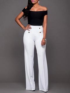 White Women's Pants High Waisted Straight Leg Long Pants