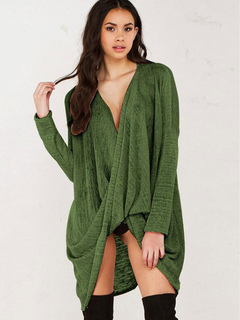 Green Sweater Dress V Neck Long Sleeve Twisted High Low Comfy Short Dresses For Women
