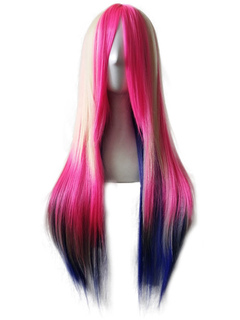 Women's Carnival Wigs Highlighting Ombre Central Parting Straight Layered Long Synthetic Wigs