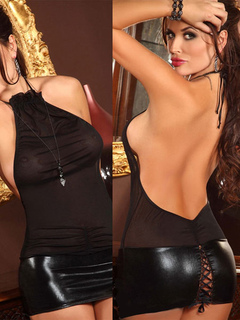 Black Club Dress Backless Halter Lace Up Sexy Mini Dress For Women