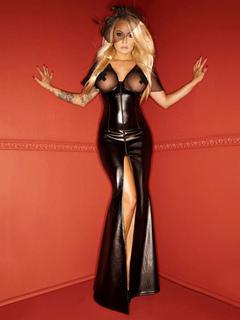 Black Club Dress Sexy V Neck Sheer Split Mermaid Maxi Dress For Women