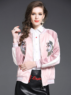 Embroidered Bomber Jacket Women's Crewneck Long Sleeve Striped Zipper Up Pink Fall Clothing
