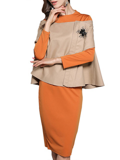 2 Piece Outfits Orange Round Neck Long Sleeve Slim Fit Dress With Cape For Women